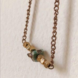 Adjustable Beaded Bar Necklace in Jade